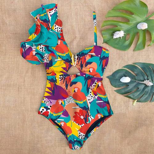One shoulder Parrot Print Swim Suit