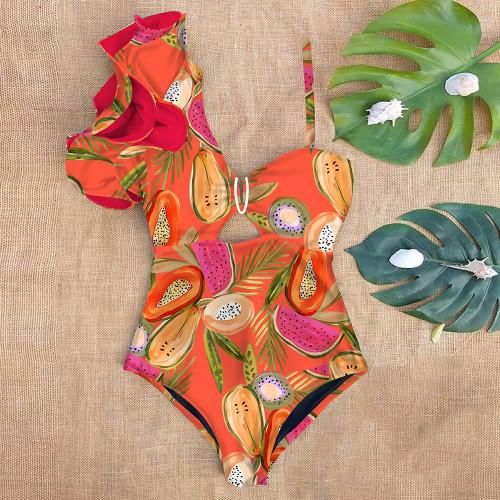 One shoulder Fruit Print Swim Suit