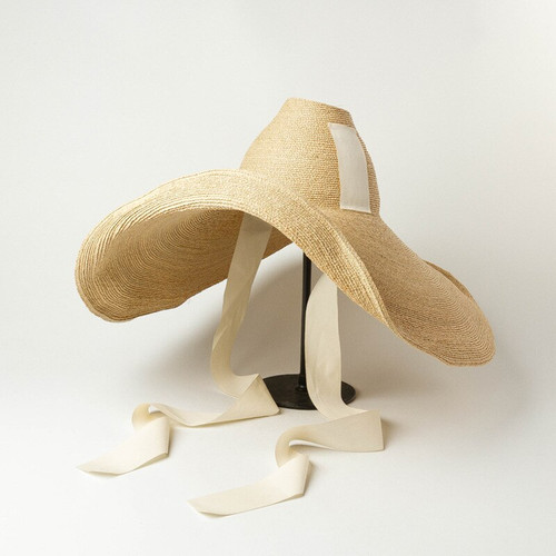 Cone Shaped Bendable Ribbon Straw Hat