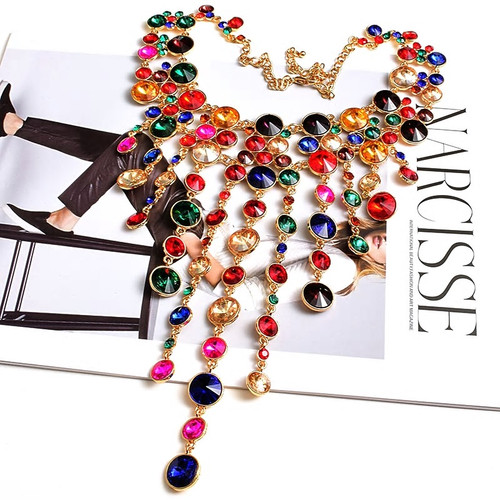 Rhinestone Tassel Necklace