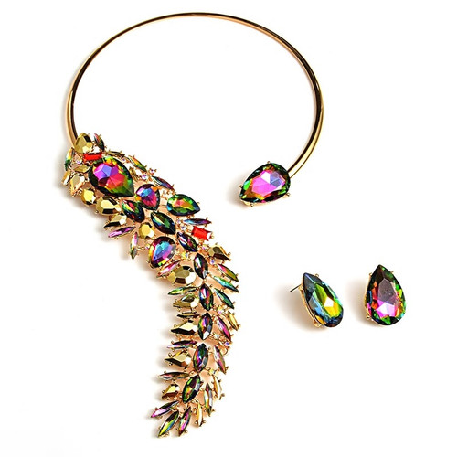 Iridescent Cuff Crystal Necklace