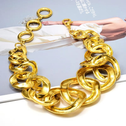 Gold Hoops Link Necklace