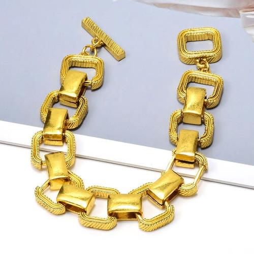 Brushed Gold Square Bracelet