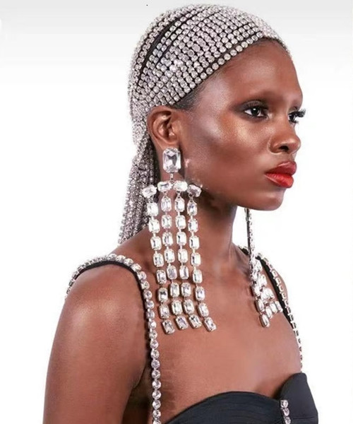 Chandelier Tassel Crystal Earrings