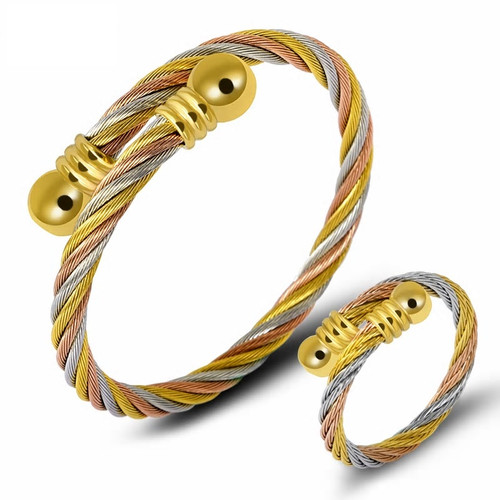 Stainless Steel Tri Color Twisted Wire Bracelet and Ring Set