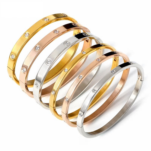 Cubic Zirconia Stainless Steel Bangles