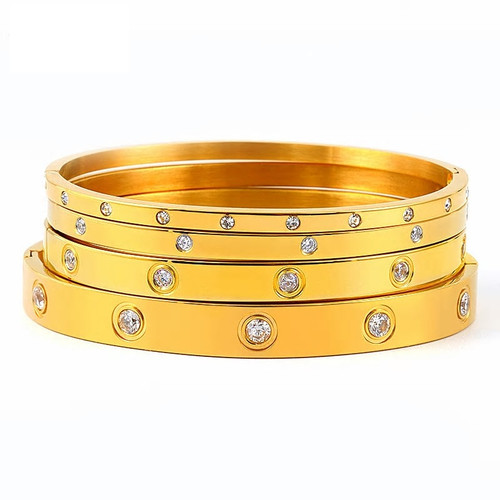 Cubic Zirconia Stainless Steel 4 Piece Gold Bangle Set
