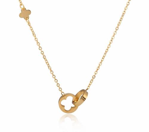 Interlocking Four Leaf Clover Necklace