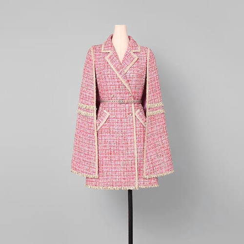 Double Breasted Belted Cape Coat