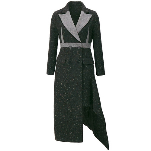 Double Breasted Fit and Flare Asymmetrical  Coat