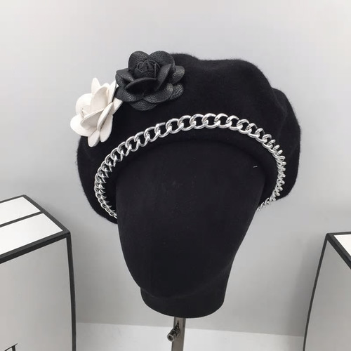 Leather Rose Wool Beret