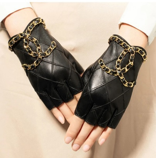 Leather Chain Motorcycle Gloves