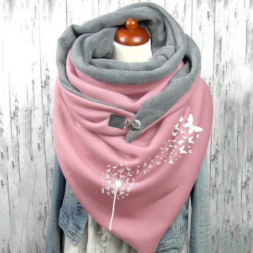 Buttoned Wrap Butterfly Scarf