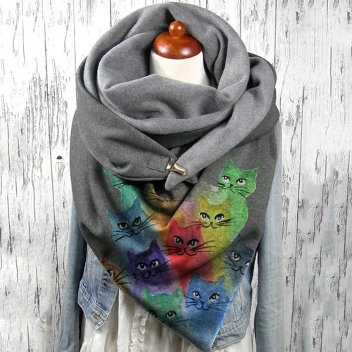 Colorful Cats Wrap Scarf