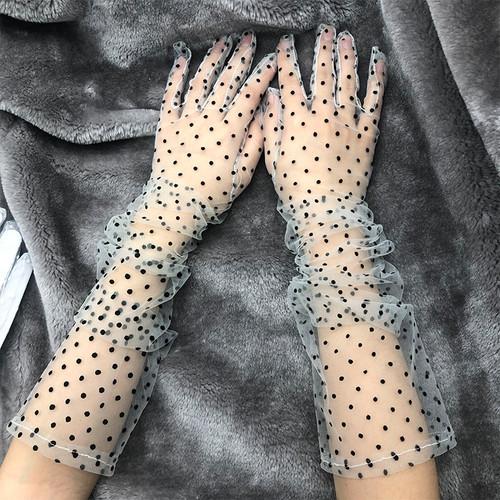 Polka Dot  Sheer Opera Gloves