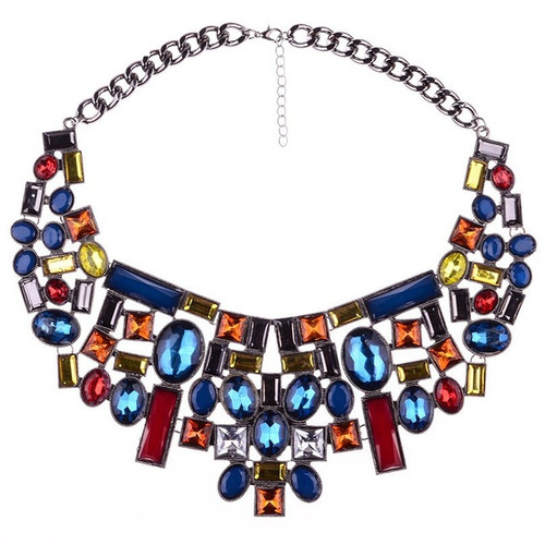 Colorful Geometric Shape Collar Necklace