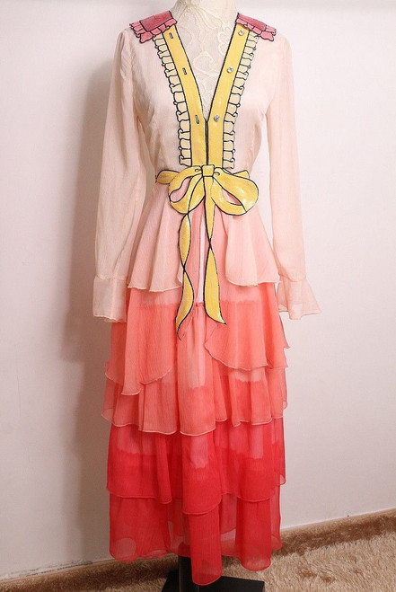 Pink Tiered Dress With Sequined Neckline and Belt