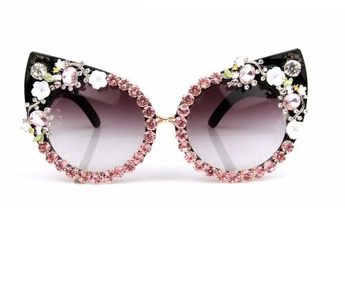 Over Sized Pink Rhinestone Cat eye Glasses
