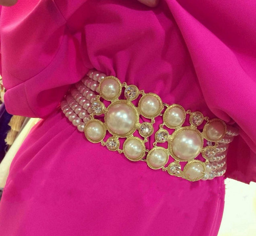 Wide Rhinestone and Pearl High Fashion Belt