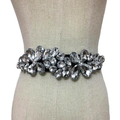 Floral Design Faux Gemstone Thin Waist Belt