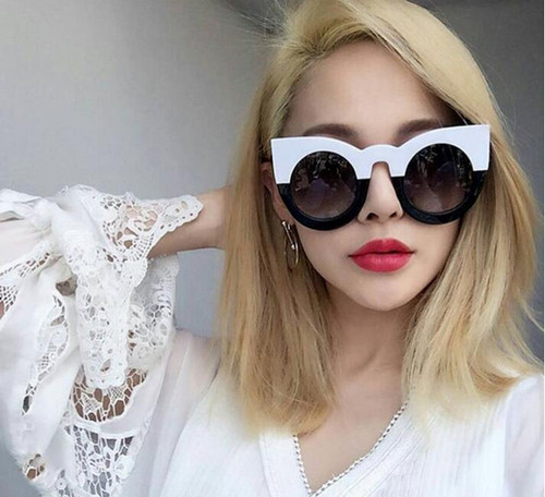 Over Sized Cat Eyes Vintage Style  Black and White Glasses