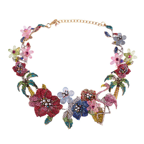 Garden Themed Colorful Crystal Necklace