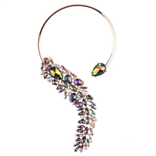 Multi Color Crystal Cuff Necklace