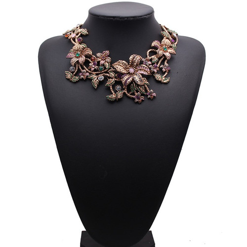 Crystal Floral Themed Choker Necklace