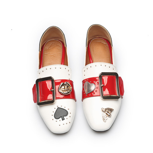 Metal buckle Women's Flat Multi Color Leather Loafers