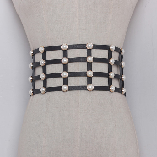 Leather and Pearl Wide Grid Belt
