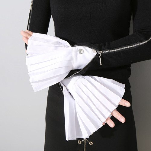 Pleated Flared White Wide Blouse Cuffs