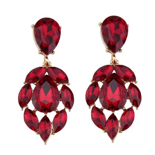 Leaf Shaped Cluster Earrings