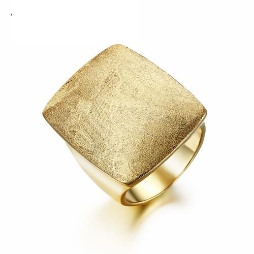Rectangular Brushed Gold Ring