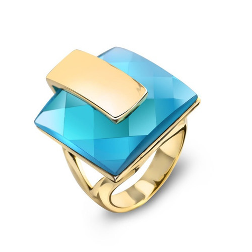 Blue Crystal Square Gold Ring