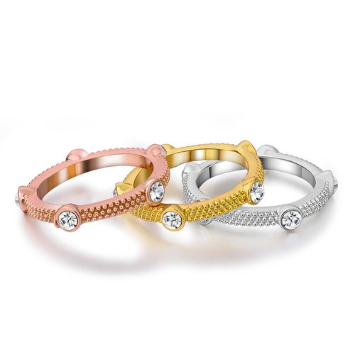 Tri Color Rhinestone Multiple Rings