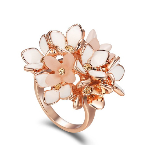Flower Cluster Rose Gold Ring