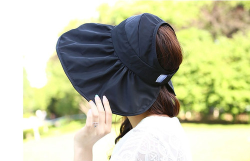 Ruffle Sun Visor Velcro Closure Hat