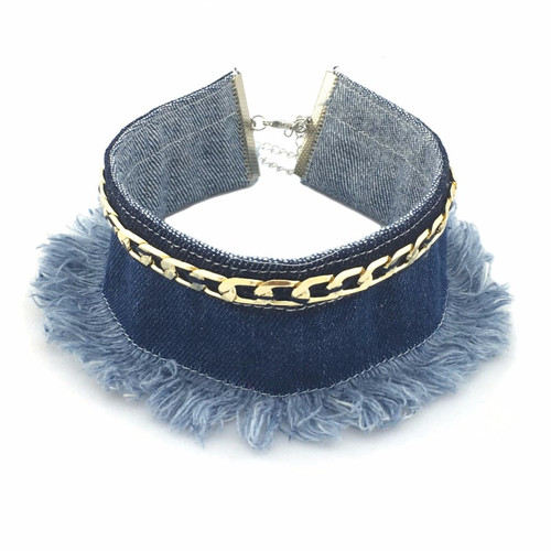 Blue Jean Collar Necklace with Gold Chain Detail