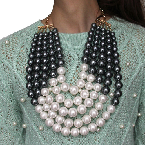 Oversized Multi layer Pearl Necklace