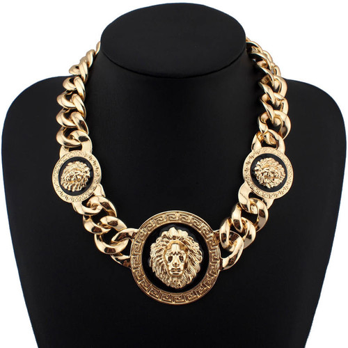 Gold Lion Head Link Chain Necklace