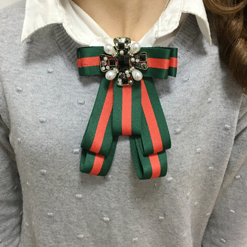 Ribbon Bow and Pearl Statement Brooch