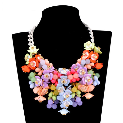 Colorful Flower Statement Bib Necklace