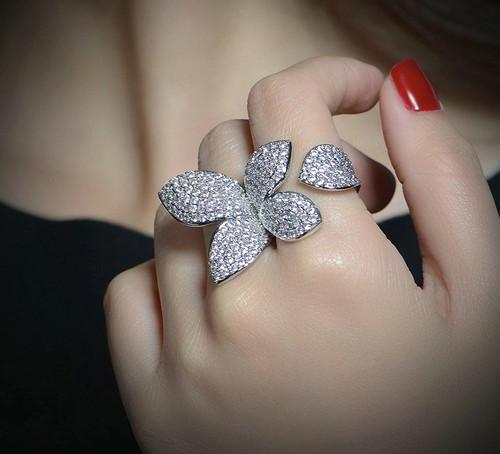 Cubic Zirconia  Adjustable Flower Ring
