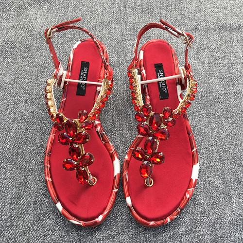 Crystal Flower Leaf Print Sole Sandals