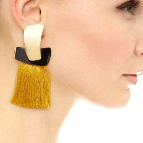 Tassel Earrings with Gold Detail