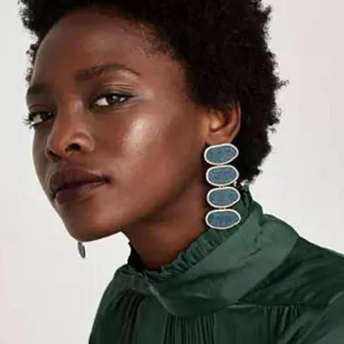Layered Acrylic and Rhinestone Earrings
