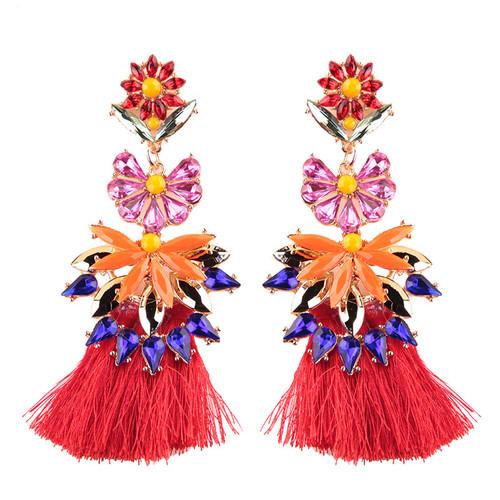Floral Jeweled Tassel Earrings