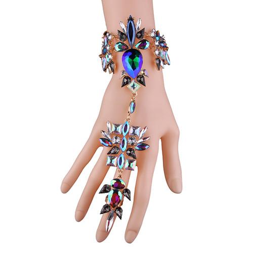 Finger Charm Link Crystal Bracelet