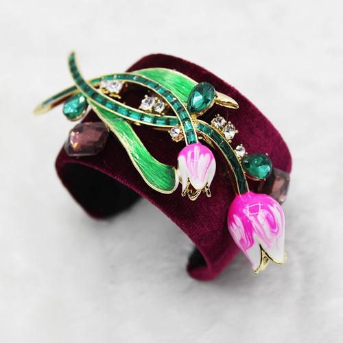 Baroque Style Tulip Wide Cuff Bracelet