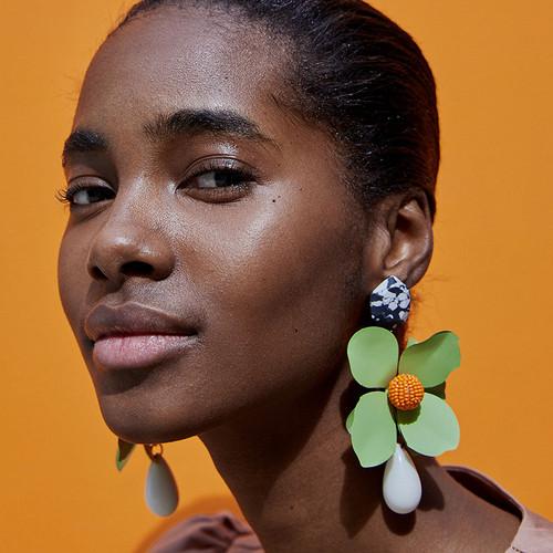 Floral and Teardrop Mint Green Earrings
